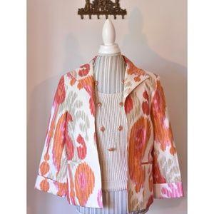 Three Sisters Hot Pink & Coral Orange Linen Blazer